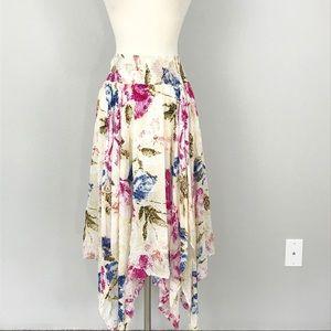 Free People Floral asymmetrical hem Midi skirt
